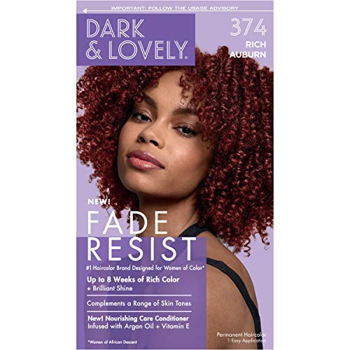 Softsheen-Carson Dark and Lovely Fade Resist Rich Conditioning Hair Color, Permanent Hair Color, Up To 100% Gray Coverage, Brilliant Shine with Argan Oil and Vitamin E, Rich Auburn