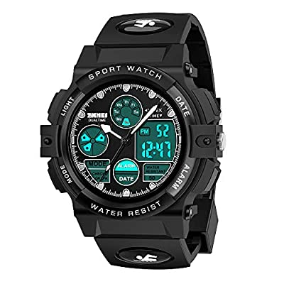 Dreamingbox Boy Toys Age 5-12, LED 50M Waterproof Digital Sport Watches for Kids Birthday Presents Gifts for 5-12 Year Old Boys ZHBlack MMUSPW04