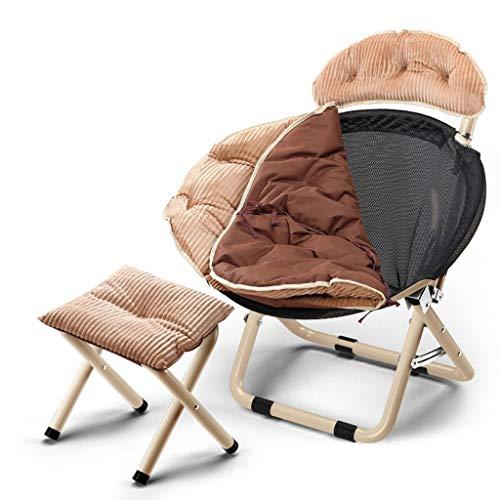 Chaises Longues Canapé Paresseux Sol Fauteuil Avec Coussin D'assise Détachable Chambre Bureau Folding Reclining Chairs Plage Jardin Extérieur (Color : B, STOOL : 2)