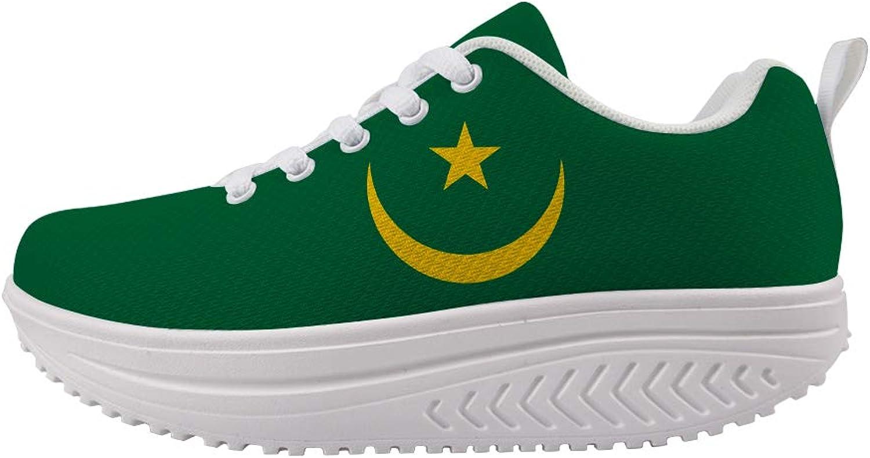 Owaheson Swing Platform Toning Fitness Casual Walking shoes Wedge Sneaker Women Mauritania Flag