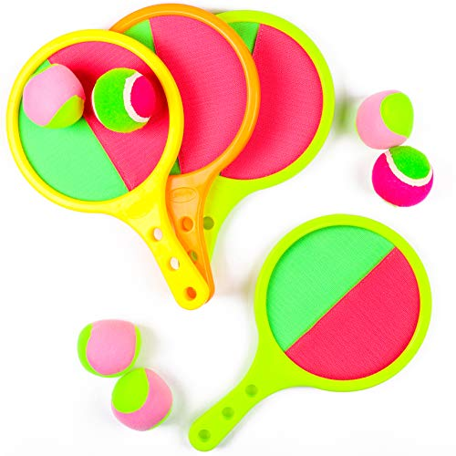 WATINC 10Pcs Toss and Catch Ball Racket Set Disc Paddle Tennis Game Sucker Sticky Ball Indoor Outdoor Sport Games Toys for Kids Toddlers Boys Birthday Party Gift