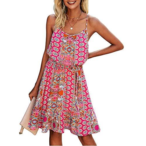 Masrin Damen Dundress Sommer Blumendruck Skater Kleid mit Gürtel Ärmelloses Leibchen Knielanges A-Linie Kleid Swing Kleid Strandkleid(XL,Pink)