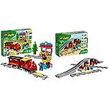 LEGO Duplo Town Tren de Vapor (10874) + Puente y vías ferroviarias (10872), Pack de Juguetes de Construcción...