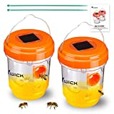 Wick Wasp Trap 2pack Outdoor Solar Powered Orange Wasp Killer for Catching Wasps,Hornets,Bees,Gnats,Hanging Fruit Fly Traps for Wasps ,Reusable Environmental Catcher