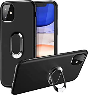 iDLike for iPhone 11 Case,Scratch Resistant & Anti-Slip Slim Fit Matte Soft Silicone Protective Case with 360 Degree Rotation Ring Kickstand [Support Magnetic Car Mount] for iPhone 11,Black