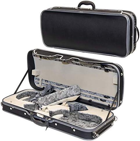 MI VI Professional Hard Shell Double Violin Case 4 4 Full Size Luxury Silk Interior Hardwood product image