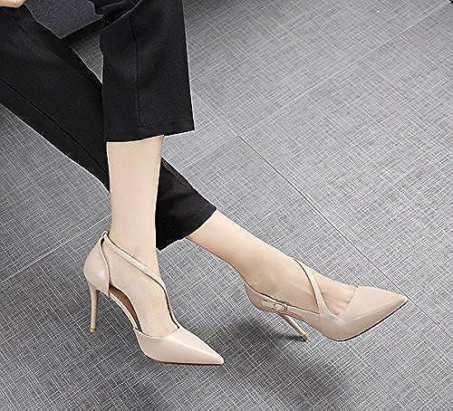MDRW-Dame élégante Travail Loisirs Printemps Une Bouche Peu Profonde 9Cm Très Bien Avec Des Talons Hauts Une Boucle Des Chaussures Chaussures De Mode L'Abricot