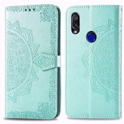 FanTings Capa para Huawei P30 Pro, capa carteira móvel da série Mandala com suporte para celular e compartimento para cartão, capa carteira magnética de couro PU para Huawei P30 Pro-Green