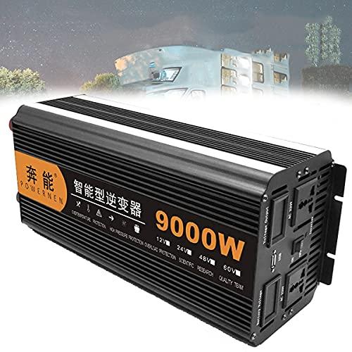 Inverter di Potenza a Onda sinusoidale Pura da 9000 W, convertitore per Auto da 12 V/24 V CC a 220 V CA con Prese CA e Porte USB, generatore di Emergenza Esterno