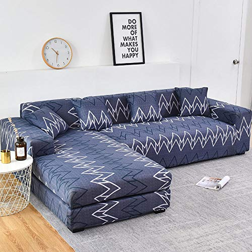 SDFWEWQ Funda de Sofá Elástica 1 2 3 4 Plazas Suave Cómoda Antideslizante Lavable en Lavadora Impreso Fundas para Sofa,Decorativas Fundas de Sofa para Sala de Estar (2 Plazas 145-185 cm,Azul)