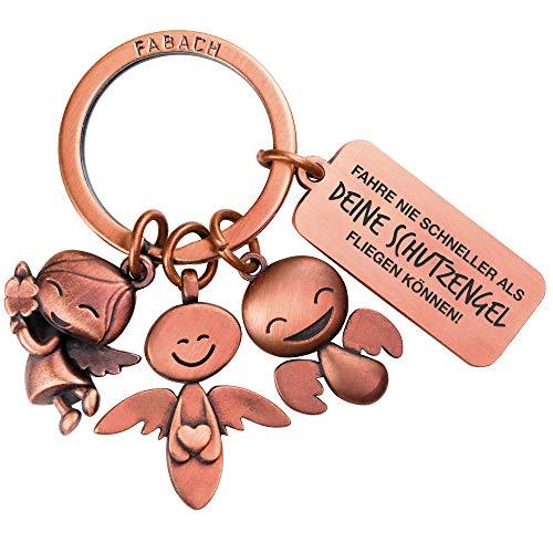 FABACH Schutzengel Schlüsselanhänger 3 Engel mit Gravur - Auto Schlüsselanhänger aus Metall mit Botschaft Gravur für Autofahrer - Geschenk Glücksbringer Auto Führerschein - Deine Schutzengel