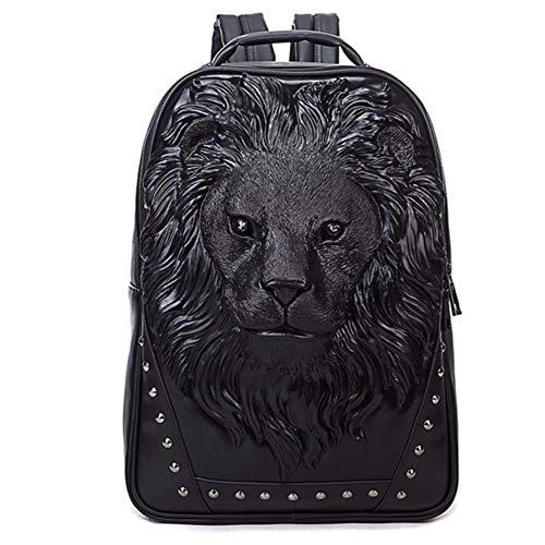 Wymw New Arrival 3D Lion Design Pu Leather Backpacks Rock Women Bags Rivet Computer Bags Good Quality Travel Bags,Black