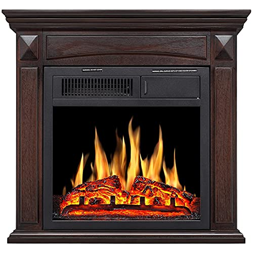 Rintuf Electric Fireplace 26'' Freestanding Electric Fireplace with Mantel,TV Stand Fireplace for Space up to 435 ft² Remote Control and Overheat...