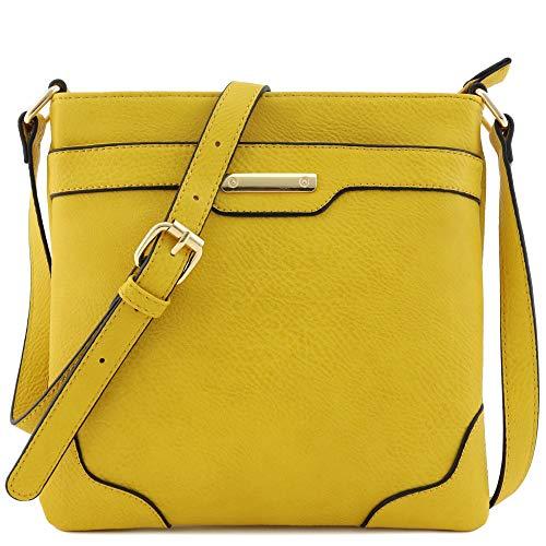 Umhängetasche, mittelgroß, solide, modern, klassisch, vergoldet., Braun (Dark Mustard), Einheitsgröße