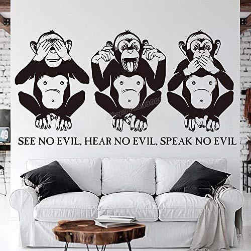 WERWN Three Wise Monkeys Wall Quotes Reloj de Pared de Vinilo y Escucha Don't Be Evil Monkey Decoración de Dormitorio
