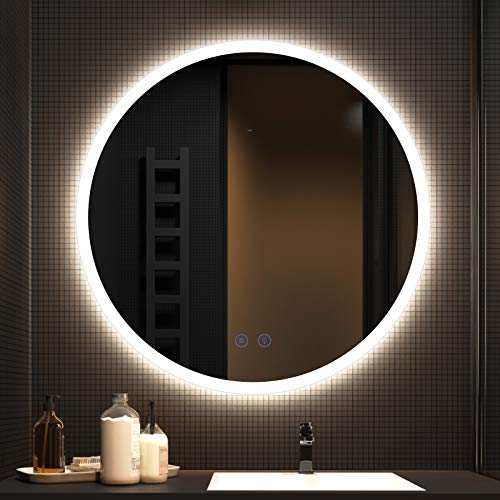 CITYMODA 28 inch Round Bathroom LED Mirror Backlit Bathroom Vanity Mirror with LED Lights Frameless Fogless Circle Illuminated Mirror for Wall Mount Dimmable CCT IP44