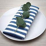 FILU Servietten 8er Pack Blau/Weiß gestreift (Farbe und Design wählbar) 45 x 45 cm - Stoffserviette aus 100% Baumwolle im skandinavischen Landhausstil