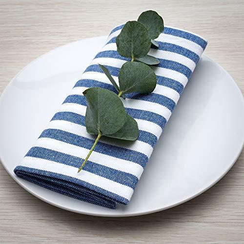 FILU Pack de 8 servilletas de tela de alta calidad (lino y algodón), diseño a rayas azules y blancas (color y diseño a elegir), 45 x 45 cm, servilletas de tela de alta calidad en estilo escandinavo