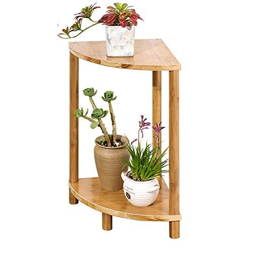 Etagère de Fleur Fleur Stand en Forme D'éventail Bambou Balcon en Bois À 2 Niveaux Combinaison Fleur Stand-Debout Fleur Pot Présentoir Organisateur (Taille : 60cm High)