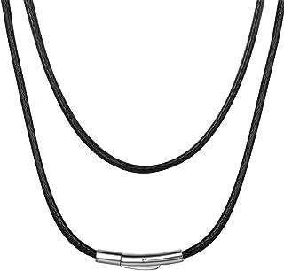 عقد سلسلة مجدول مضاد للماء من حبل جلد مشمع بعرض 2/3 ملم وقابلة تخصيص الطول 16 و18 و20 و22 و24 و26 و28 و30 انش مع صندوق هدا...