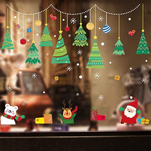 Weihnachtsdeko Fenster, Weihnachten Fensterbilder Fenstersticker Fensteraufkleber Kinder, Fensterdeko Selbstklebend Bunte, für Türen Schaufenster Vitrinen Glasfronten Deko