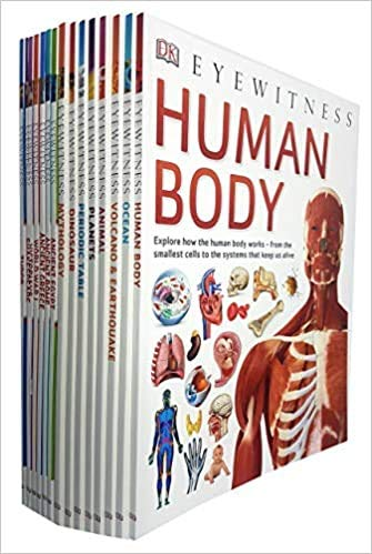 DK Eyewitness Collection 15 Books Set (Human Body,Ocean,Volcano & Earthquake,Animal,Planets,Periodic Table,Dinosaurs,Mythology,Ancient Egypt,Tudor,Victorians,Ancient Rome,Ancient Greece and More)