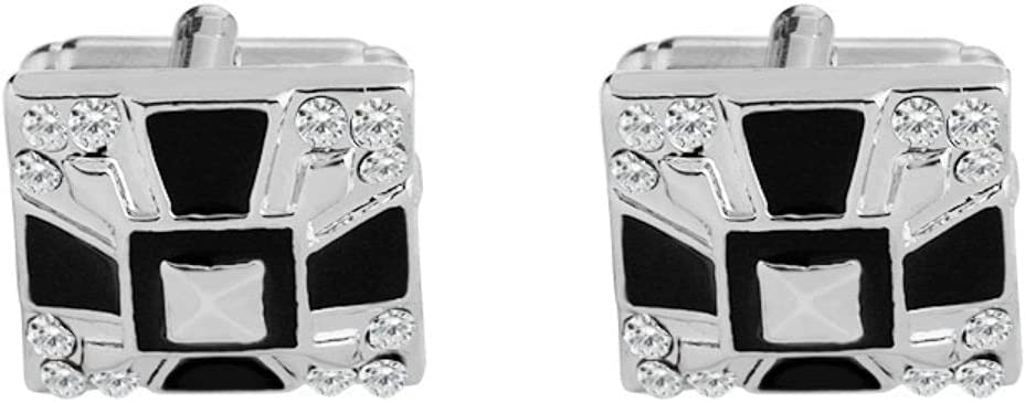 BO LAI DE Men's Cufflinks Black and White Diamond Cufflinks Square Cufflinks Shirt Cufflinks Suitable for Business Events, Conferences and Dances, with Gift Box