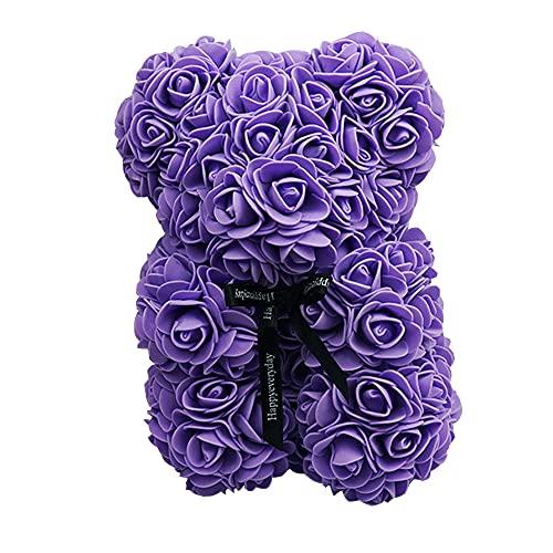 Chnrong Oso de rosa, rosa artificial, con caja de regalo, regalo creativo para mujeres, novia, día de San Valentín, aniversario, boda, cumpleaños