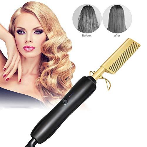 Preisvergleich Produktbild winnerruby Electric Hair Hot Comb Aufrichtung Kamm - Haarglätter & Hot Comb für Frauen -Glättungsbürste aus Keramik mit Temperaturregulierung und schneller Erwärmung - Gold / Schwarz