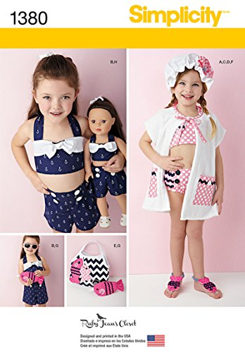Simplicity Ruby Jean's Closet Pattern 1380 Girls Swimsuit, Play Suit, Cover Up, Hat and Doll Outfit Sizes 3-4-5-6-7-8