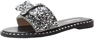Women Summer Slippers Slip On Flats with Soft and Thick (Color : Silver, Size : 36)