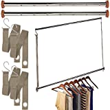 neatfreak Michael Graves (3 Pack) Extendable Closet Hanging Bars Doubler Rods Clothes Organizer