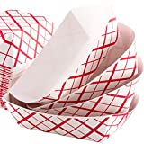 Grease-Proof Sturdy Food Trays 1/2 lb Capacity 200 Pack by Eucatus. Serve Hot or Cold Snacks in These Classic Carnival Style Checkered Paper Baskets. Perfect for Concession Stand or Circus Party Fare!