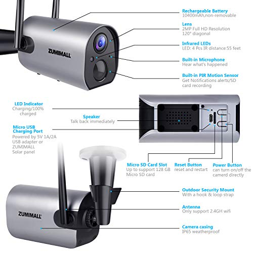 Wireless Outdoor WiFi Security Came   ra, Rechargeable Battery-Powered Home Security Camera, 1080P Night Vision/Waterproof, PIR Motion Detection, 2-Way Audio, Compatible with Cloud Storage/SD Slot
