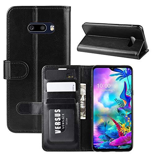 ROVLAK Hülle für LG G8X ThinQ Wallet Flip Hülle mit Kartenslot Stoßfeste PU Leder Hülle+Innenseite TPU Silikon Hülle mit Kickstand Tasche für LG G8X ThinQ Smartphone Hülle, Schwarz