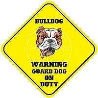 Bulldog Warning Guard Dog on Buty 金属板ブリキ看板警告サイン注意サイン表示パネル情報サイン金属安全サイン