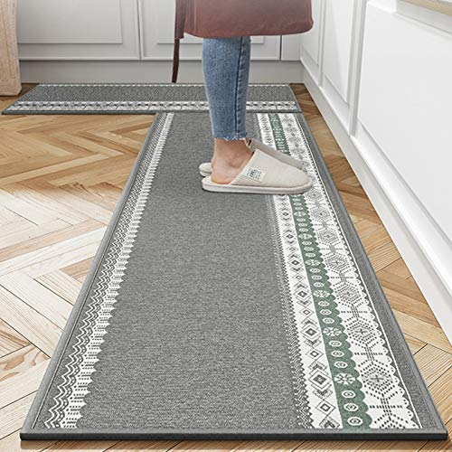 """Kitchen Rugs, 2 Piece Non-Slip Water Absorption Anti Fatigue Carpet and Floor Mats Set for Kitchen, Dining Room,Hallway (20""""×31"""" and 20""""×47"""") Grey"""