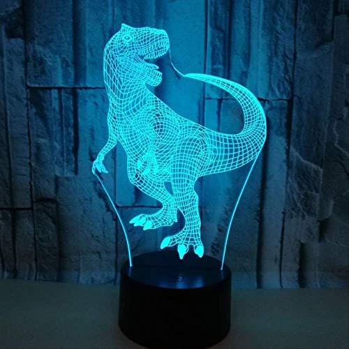 DFDLNL Toque Colorido 3D lámpara ilusión led luz de Noche USB Dinosaurio atmósfera lámpara de Mesa para niños bebé niños Regalo cabecera Dormitorio