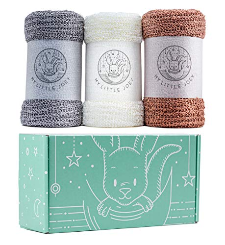 MY LITTLE JOEY Newborn Photography Wraps | Baby Photo Props Wrap Set | 3 Premium Stretchy Mesh Knit Cheesecloth Long Ripple Blankets for Infant Boy and Girl Photoshoots