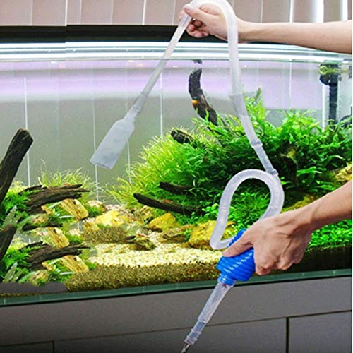 Baost 1.7m Aquarium Siphon Gravel Cleaner Fish Tank Vacuum Water Change Siphon Pump Automatic Fish Tank Cleaning Kit Starter Bulb Nozzle with Filter for Freshwater Saltwater M