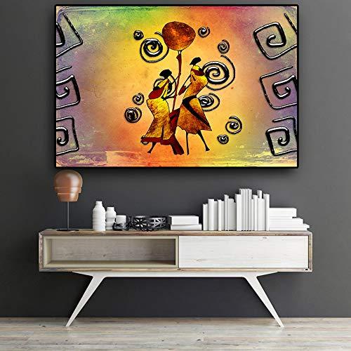 QWESFX AbstractWoman Dance African Art Figur Leinwandmalerei Kuhmalerei auf Leinwand Weiße Kunstdrucke für Schlafzimmer Leinwanddrucke Personalisiert A4 50x100CM