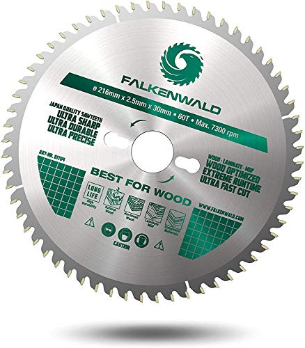 FALKENWALD ® Sägeblatt 216x30 für Holz - Kompatibel mit Metabo KGS 216 M, Bosch GCM 8 SDE, PCM 8s Kappsäge - HM Kreissägeblatt 216 x 30 mm - Kreissägeblatt 216x30-60WZ aus HM - HW