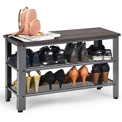 COSTWAY Schuhbank mit Metallrahmen, Schuhregal mit 2 Gitterablagen, Schuhschrank im Industriedesign, Konsolentisch für Eingang, Wohnzimmer (Dunkelbraun und grau)
