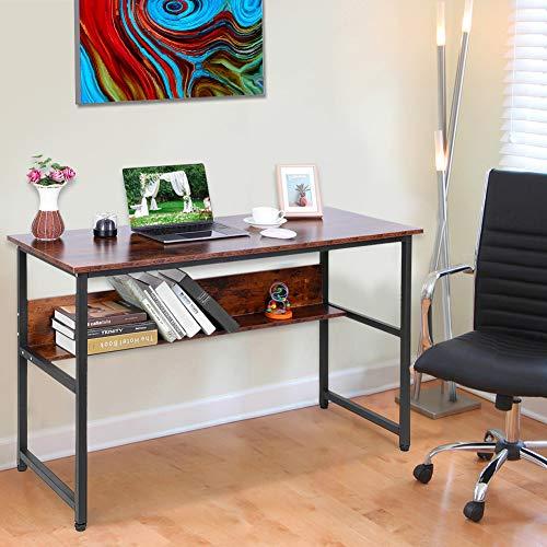 Cikonielf - Escritorio para ordenador de estilo moderno, mesa de estudio, robusto y espacioso, para oficina, con una estantería abierta 120 x 50 x 76 cm, color negro