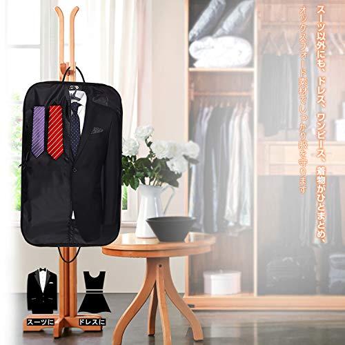 ガーメントバッグ型崩れ防止撥水スーツバッグスーツカバー冠婚葬祭ビジネス出張出勤ガーメントケースハンガー付きbyLesige(ブラック)