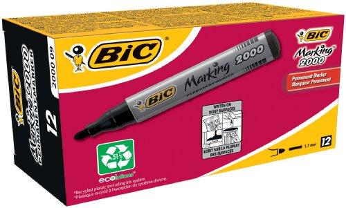 BIC Marking 2000, Pennarelli Indelebili, Colore Nero, Punta Tonda (1.7 mm), Confezione da 12 Marcatori, Fornitura Cancelleria Ufficio, Scuola e Casa