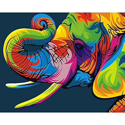 MRHUI Colorido Bricolaje Pintura por Números De Elefantes Animales Pintura Y Caligrafía Decoración del Hogar 40X50Cm,con El Bastidor