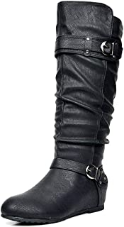 DREAM PAIRS Women's Knee High Low Hidden Wedge Boots (Wide-Calf)