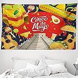 ABAKUHAUS Cinco de Mayo Wandteppich & Tagesdecke, Mexiko Feiern, aus Weiches Mikrofaser Stoff Wand Dekoration Für Schlafzimmer, 230 x 140 cm, Mehrfarbig