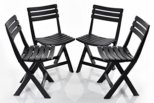 4Stück Stühle faltbar Komodo anthrazit Ipae Progarden Stuhl cm 44x 41x 78